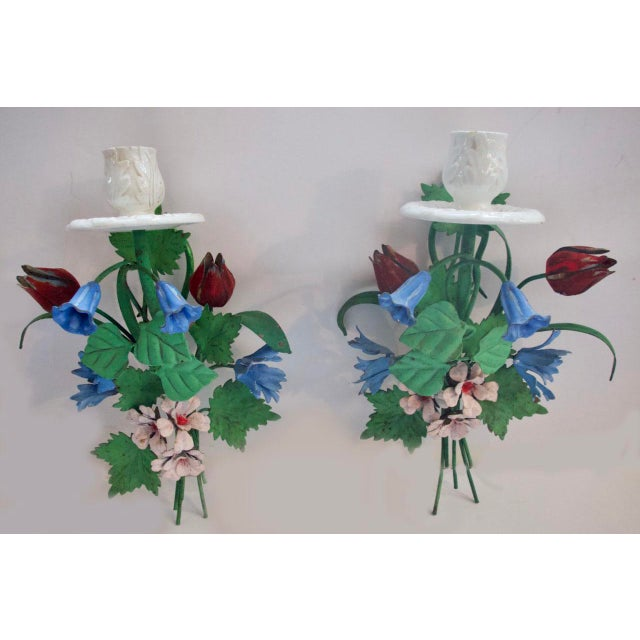 1940s Italian Tole Floral Wall Sconces - a Pair For Sale - Image 13 of 13