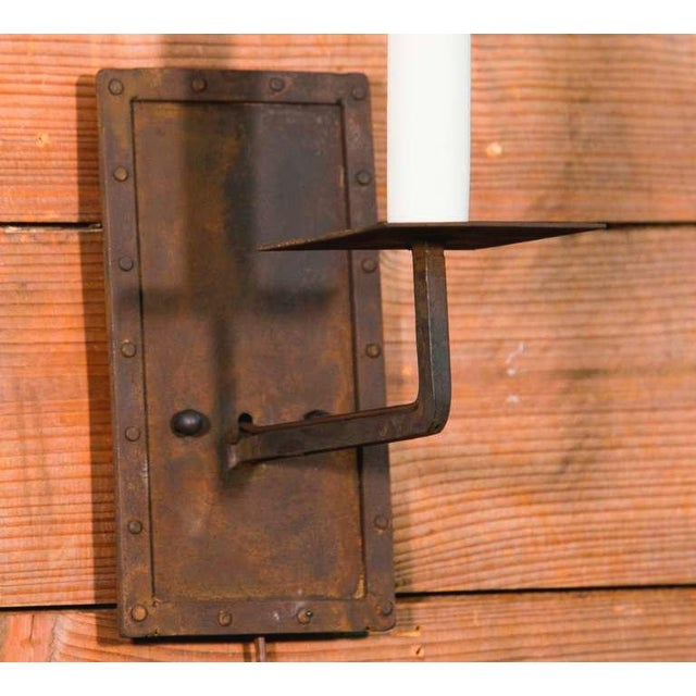 """Customizable Pair of """"Bexar"""" Hand-Made Iron Sconces - Image 3 of 3"""