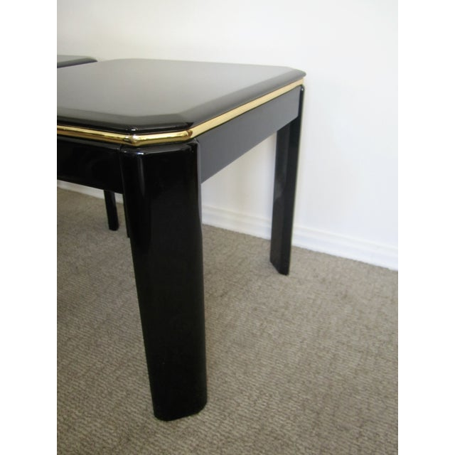 Vintage Modern Black Lacquer & Brass Tables - Pair - Image 8 of 10