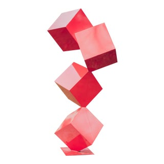 "Large ""Quatro"" Abstract Modern Powder Coated Red Steel Sculpture For Sale"