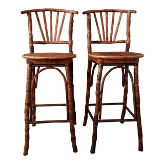 1960s Vintage Tortoise Bamboo Bar Stools- a Pair For Sale