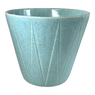 Mid Century Bauer Space Age Design Turquoise Ceramic Planter For Sale