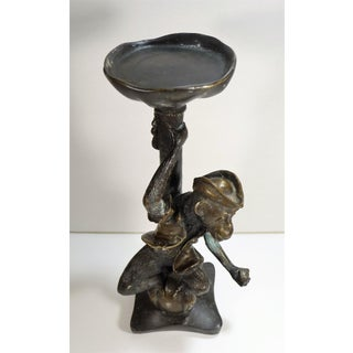 Vintage Monkey Pirate Bronze Candle Holder Preview
