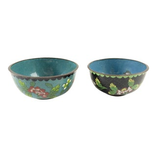 Vintage Chinese Cloisonne Bowls - a Pair For Sale