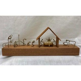 1960s Vintage Wood & Brass Minimalist Manger Scene Preview