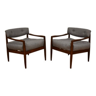 Adrian Pearsall Walnut & Grey Lounge Chairs- a Pair For Sale