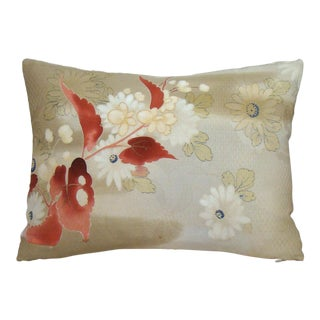 Hand Painted Autumn Floral Silk Kimono Lumbar Pillow Cover For Sale