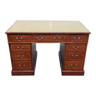 Antique Inlaid Leather Top Desk For Sale