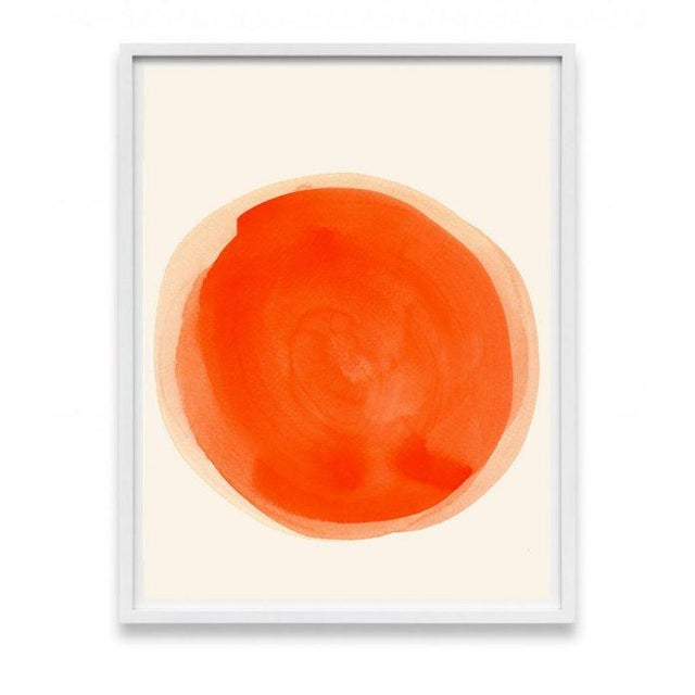 A minimal statement with a bold impression, this watercolor soothes with a warm sun-kissed orange wash and primary shape....