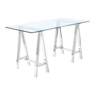 Modern West Elm Glass Writing Desk For Sale
