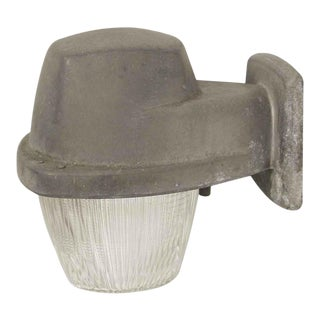 Exterior Industrial Aluminum Sconce With Holophane Glass For Sale