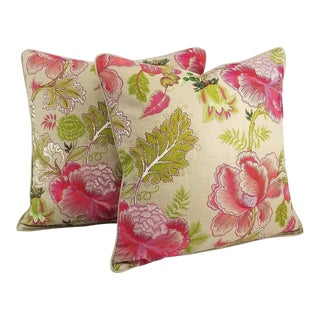 Manuel Canovas Sara Rose Indien Backed Linen Self-Welt Pillow Covers - A Pair For Sale