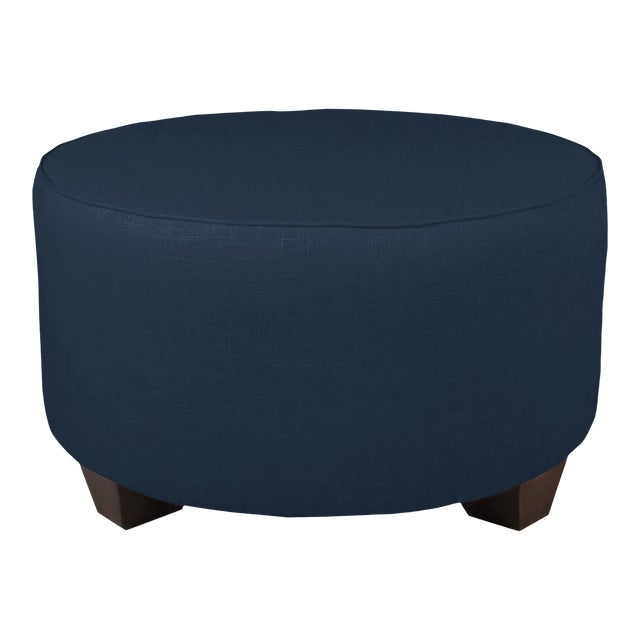 Linen Navy Round Cocktail Ottoman For Sale