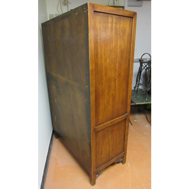 Century Furniture Century Furniture Asian Campaign Style Armoire Chest With Brass Accents For Sale - Image 4 of 11