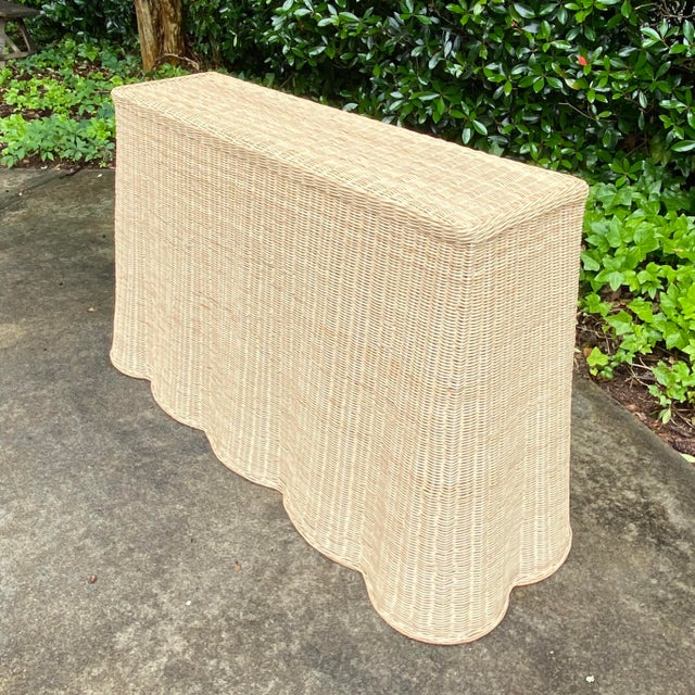 Natural Rattan Trompe l'Oeil Console Table For Sale - Image 4 of 13