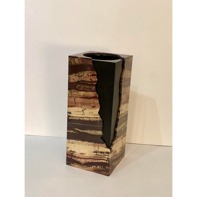Unusual Rectangular Carved Agate Vase For Sale - Image 10 of 11