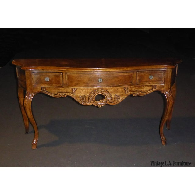Vintage French Style Ornate 3 Drawer Oak Console Table by CENTURY Furniture Unique Table in Good Vintage Condition. Solid...