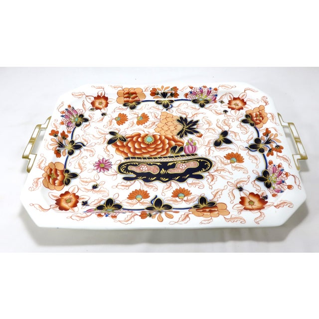 Asian Antique Bone China Imari Style Serving Tray For Sale - Image 3 of 13