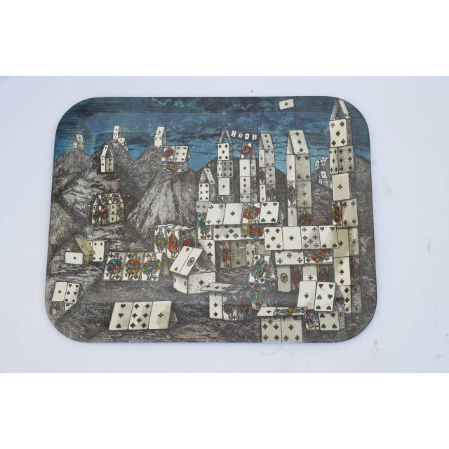Modern Chic City of Cards Tole Tray by Piero Fornasetti For Sale - Image 3 of 5