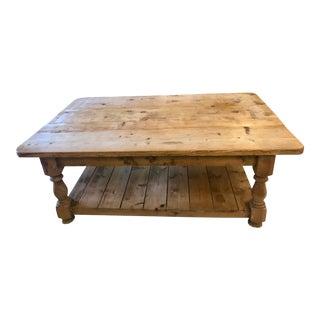 Reclaimed Wood 2-Shelf Coffee Table For Sale