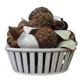 Vintage Italian Glazed Ceramic Basket of Mushrooms For Sale