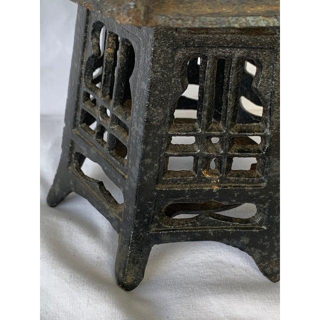 Metal Vintage Cast Iron Pagoda Lantern For Sale - Image 7 of 9