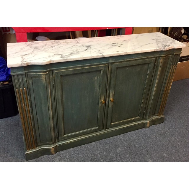 1950s Shabby Chic Marble Top Green Console Table For Sale - Image 4 of 11