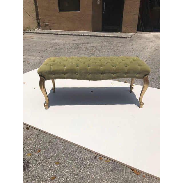 Art Nouveau French 19th Century Louis XV Benches With Green Velvet. For Sale - Image 3 of 13