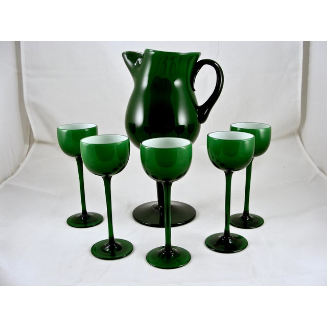 Carlo Moretti Mid Century Green and White Cased Pedestal Pitcher and 5 Wine Glasses For Sale - Image 9 of 9