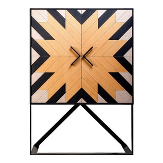 Modern Mahana Cabinet in Black, White and Natural Oak For Sale