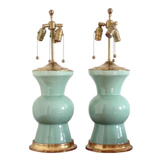 "Vintage Sea Foam ""Gregory"" Christopher Spitzmiller Lamps - a Pair For Sale"