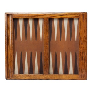 Large Vintage Oak Backgammon Board For Sale