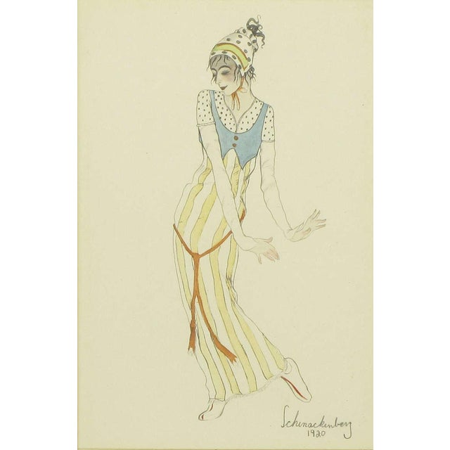 """French Set Three Walter Schnackenberg (1880-1961) """"Ballet Und Pantomime"""" Tinted Prints For Sale - Image 3 of 9"""