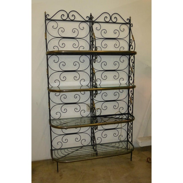 Vintage Baker's Rack Solid Wrought Iron W Solid Brass Hardware Bookcase For Sale - Image 4 of 11