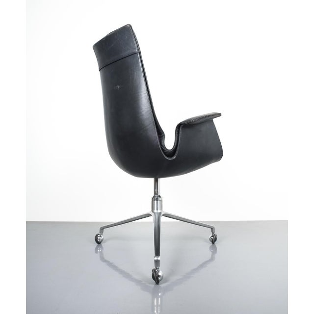 Black Blue High Back Bird Desk Chair by Fabricius and Kastholm Fk 6725, 1964 For Sale - Image 9 of 12