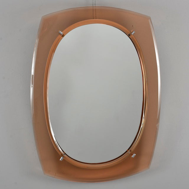 Cristal Arte Oval Mirror With Pale Coral Glass Frame For Sale - Image 10 of 10
