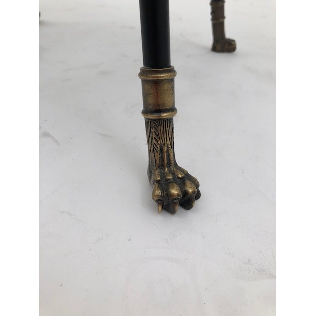 Cast bronze and black iron barstool with paw feet Reproduction of barstool, France, circa 1890. (Shown in muslin)
