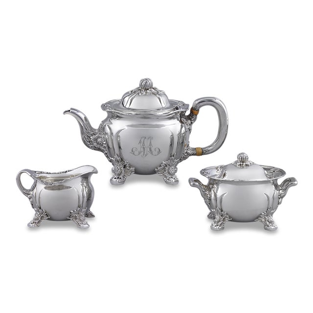 Mid 20th Century Chrysanthemum Sterling Silver Tea Set by Tiffany & Co. - 3 Pc. Set For Sale - Image 5 of 5