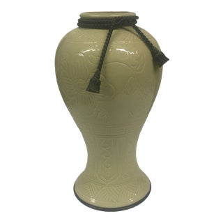 Contemporary Green Porcelain Urn For Sale