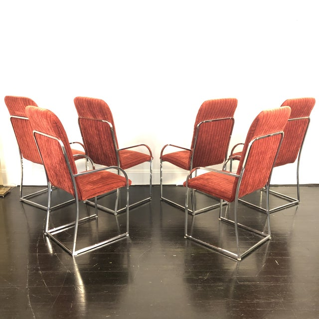 Mid-Century Modern Milo Baughman for Dia High Back Dining Chairs- Set of 6 For Sale - Image 3 of 11