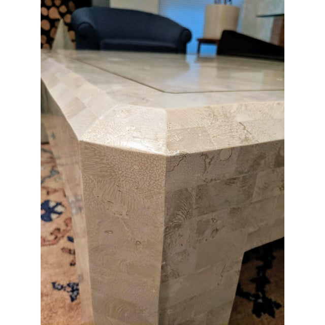 Cream Maitland Smith Tesselated Marble (Coral) Coffee Table For Sale - Image 8 of 10