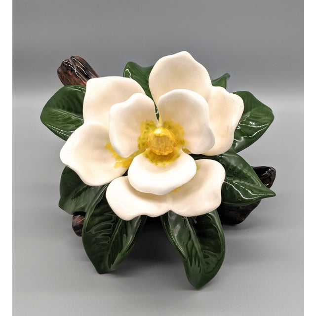 Cream Late 20th Century Vintage Ceramic Magnolia Flower Figurine For Sale - Image 8 of 8
