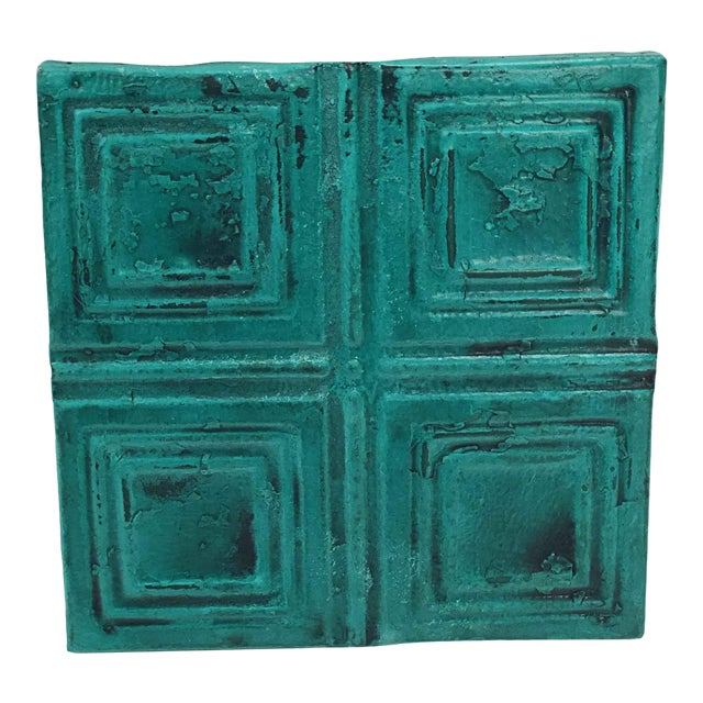 Antique Teal Squares Tin Panel For Sale