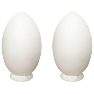 "Pair of Ben Swildens ""Uovo"" or Egg Table Lamps for Fontana Arte For Sale"
