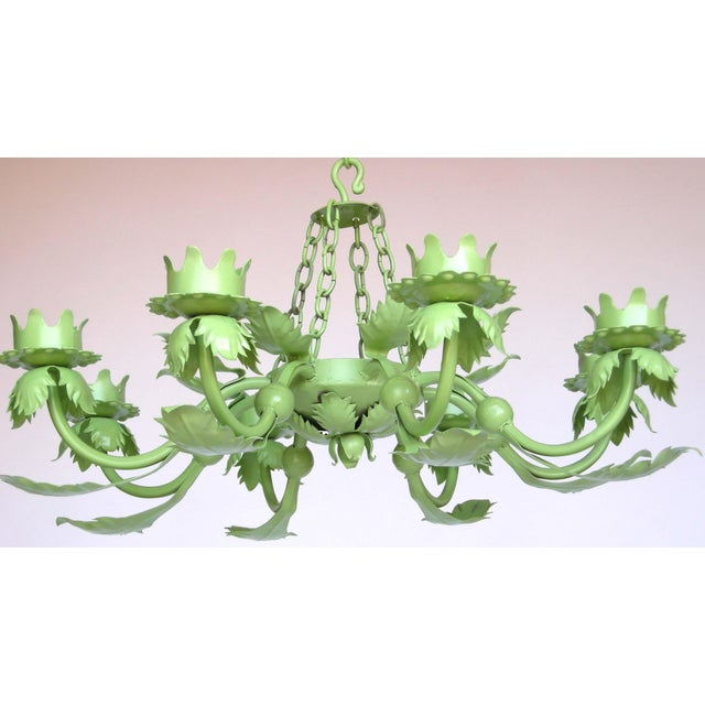 Painted Wrought Iron Chandelier For Sale - Image 5 of 7