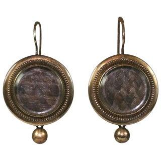 Victorian Memorial Hair Locket Earrings For Sale