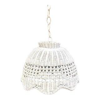 1960s White Wicker Dome Pendant Light For Sale