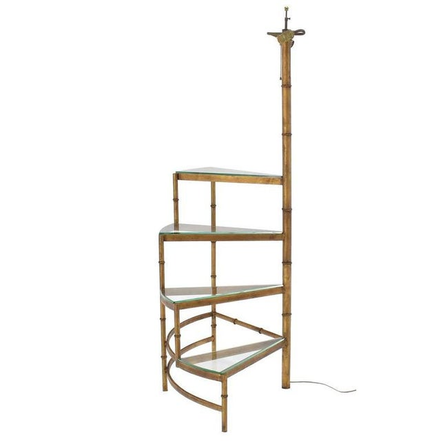 Brown Mid-Century Modern Step Shelves Faux Bamboo Gilt Base Floor Lamp For Sale - Image 8 of 10