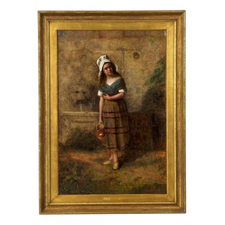 Antique Genre Scene Oil Painting on Canvas of a Young Girl at Wall Fountain, 19th Century For Sale