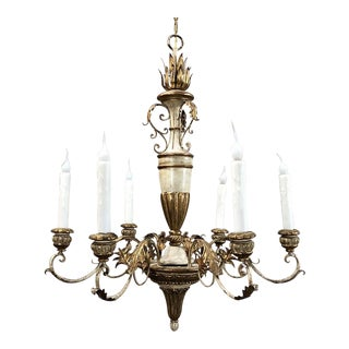 Antique Italian Hand Painted Wood and Iron Chandelier For Sale